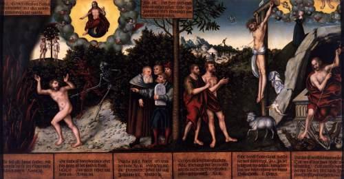 """""""Lei e Evangelho"""" (1529), de Lucas Cranach, o Velho (1472-1553)"""