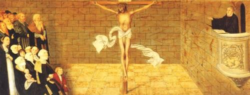 Pintura representando Lutero apontando para Cristo durante pregação